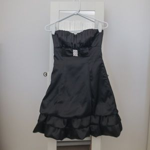 Black Satin Cocktail Dress with Broach